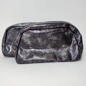 LOT 2 Bare Minerals Silver Makeup Bag Metallic